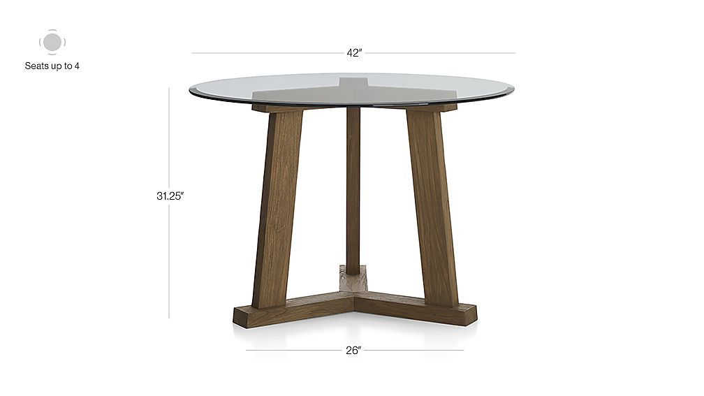 teak reclaimed wood dining table with 42 round glass top rh pinterest com