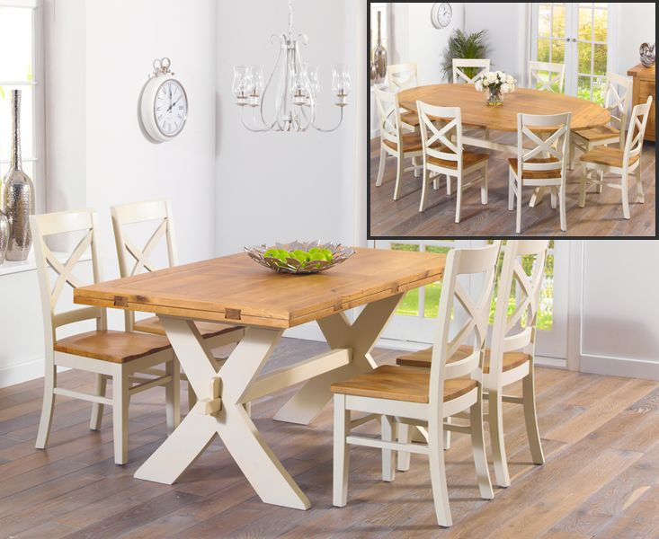buy the bordeaux 165cm oak and cream all sides extending table with rh pinterest com