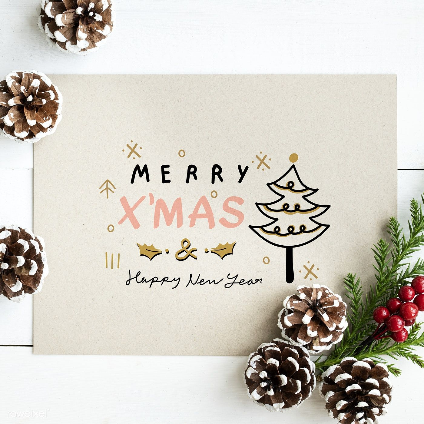 Download Premium Psd Of Merry X Mas And Happy New Year Card Mockup Merry Christmas Card Greetings Happy New Year Cards Free Christmas Greeting Cards