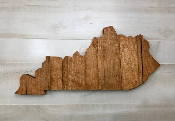 kentucky large state shape made with bourbon barrel staves 24 x 10 rh pinterest com