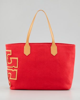 Tory Burch Canvas Stacked T Tote Bag Royal Ocean