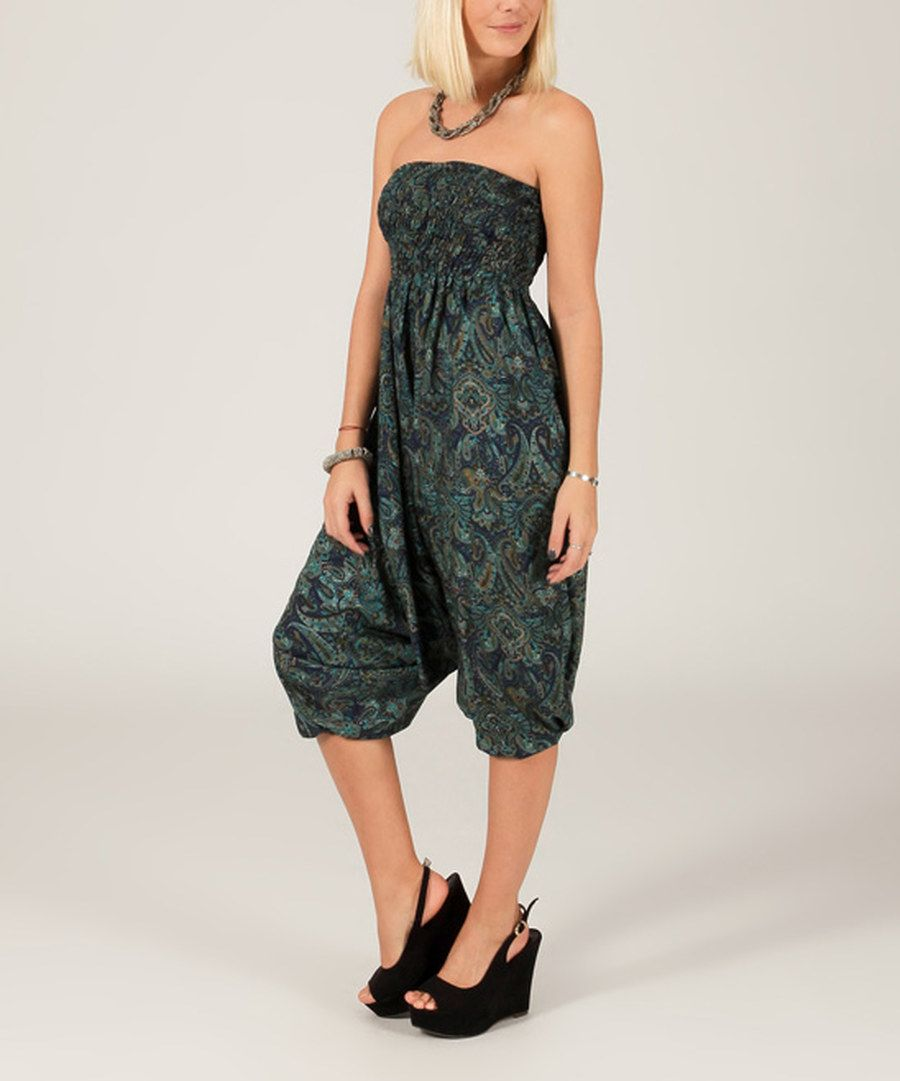 Look at this Blue & Teal Paisley Convertible Harem Pants on #zulily today!
