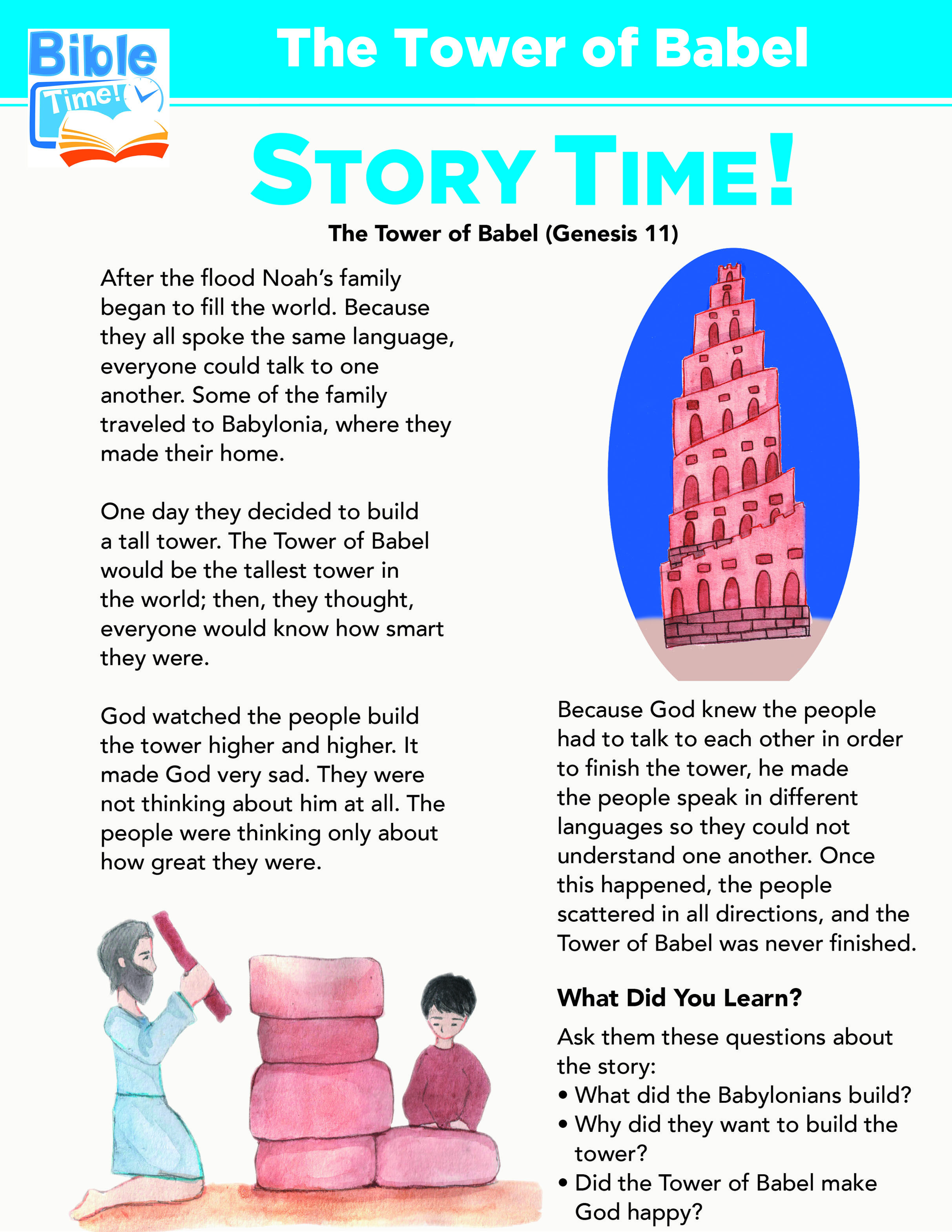 Tower Of Babel Preschool Bible Lessons Easy Kids Bible
