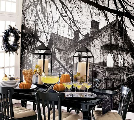 Black Halloween Dining Room And Table Centerpiece Decorating Ideas