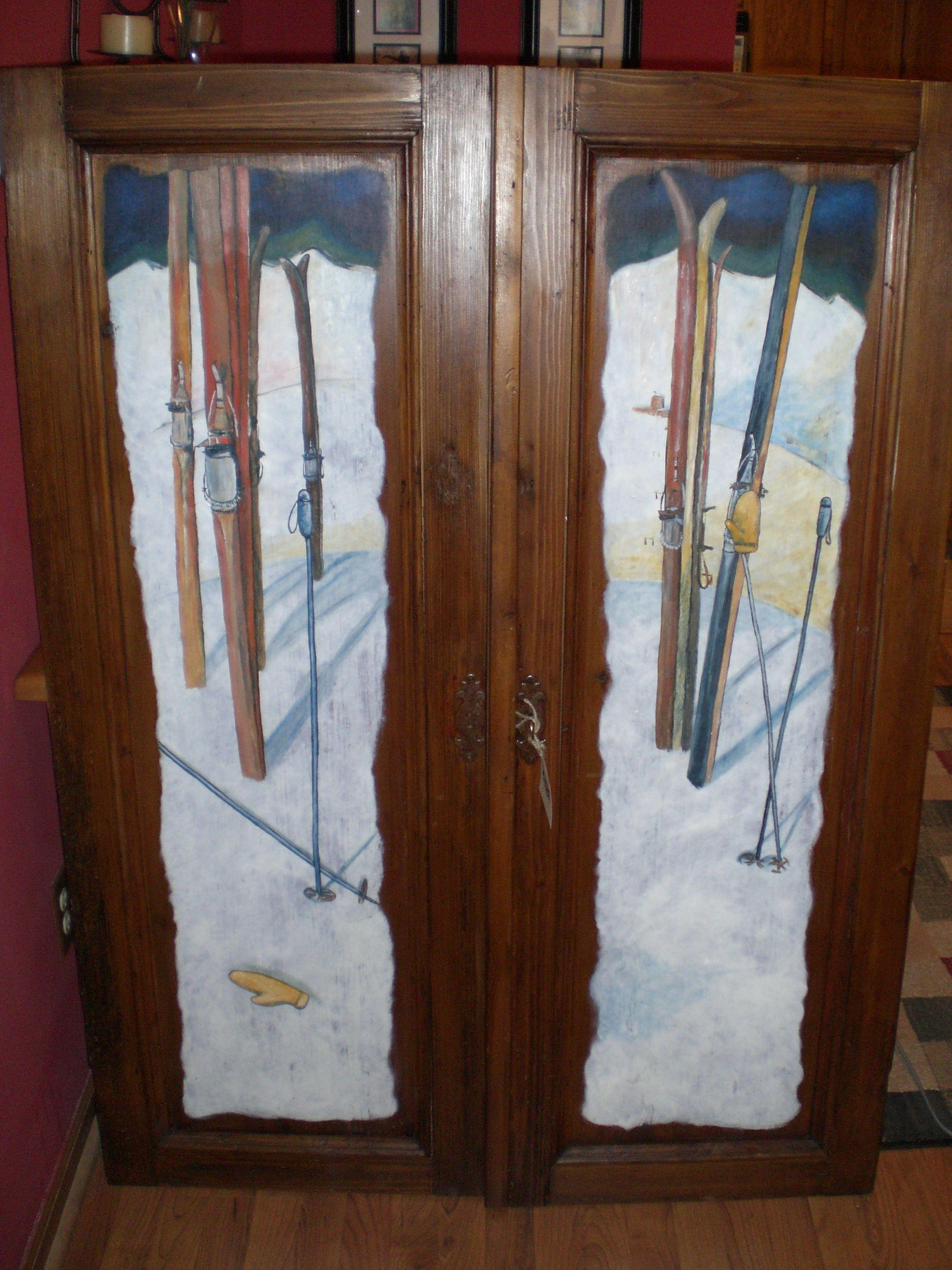 Skis painted on armoire door. & Skis painted on armoire door. | Karl G. Zimmermann III Artwork ...