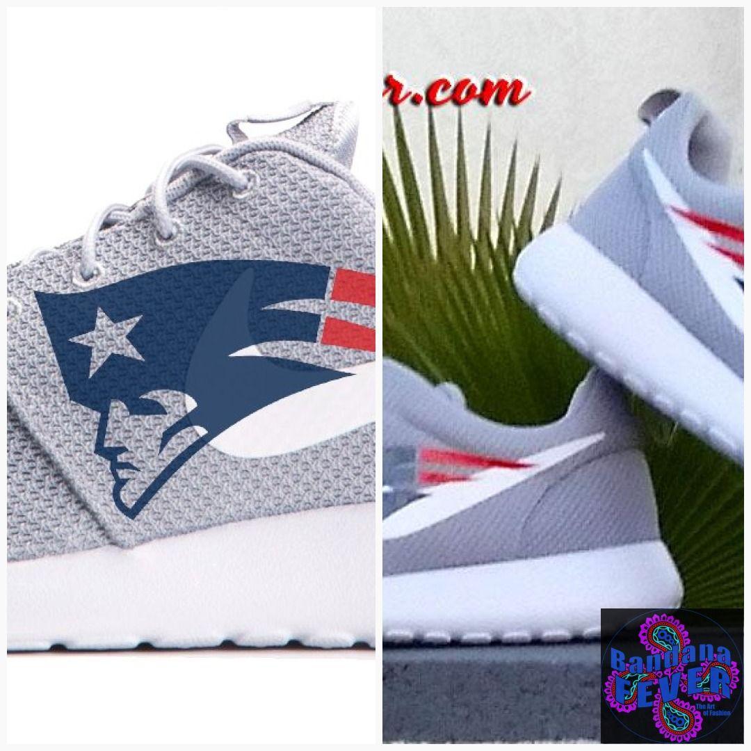 c07cf6b03f44 Bandana Fever New England Patriots Print Custom Grey Nike Roshe Shoes   shopping  bandana