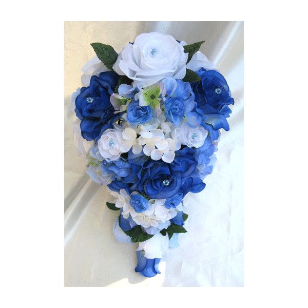 Wedding bouquet bridal silk flowers cascade royal blue white 185 liked on polyvore featuring home home decor floral decor flowers wedding artificial flower bouquets fake flowers royal blue silk flowers mightylinksfo