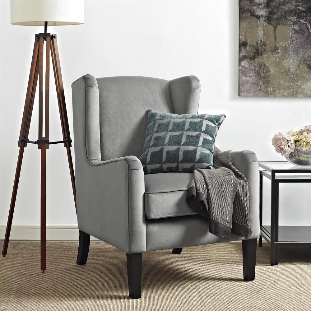 dorel rossland gray wingback accent chair fa7105 the home depot rh pinterest co uk