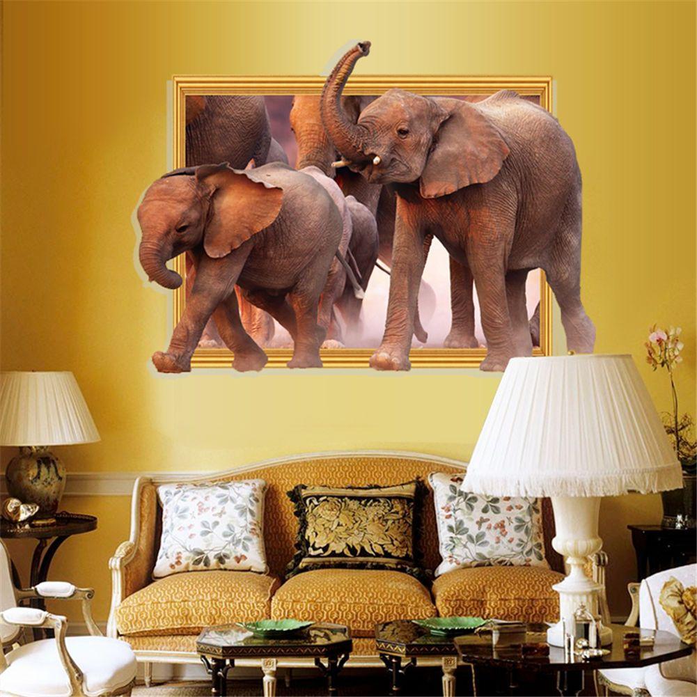 Art 3D Stickers Elephant Zoo Safari Vinyl Poster Livingroom Bedroom ...