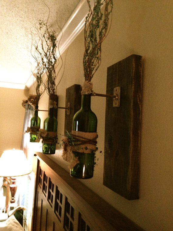 wine bottle wall sconce wall hanging decorative wine bottle on etsy 9500 - Decorative Wall Sconces