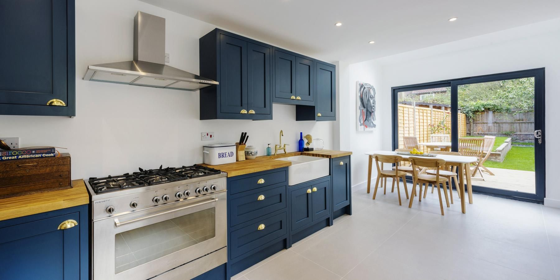 a stunning dark blue painted shaker handmade kitchen with double rh pinterest com