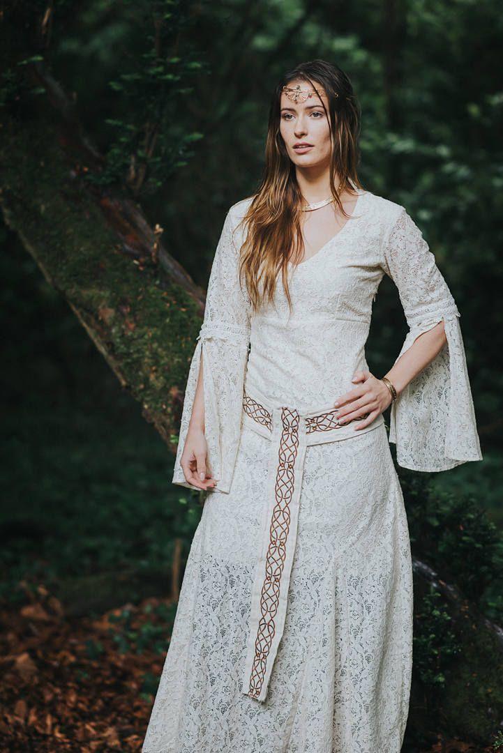 Celtic Handfasting Wedding Dress, Sleeved Wedding Dress