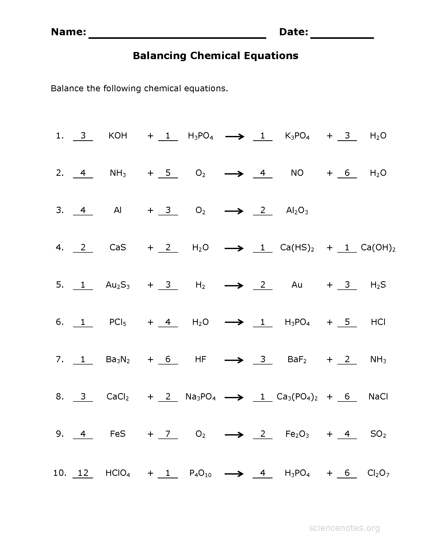 Get Printable Worksheets To Practice Balancing Equations