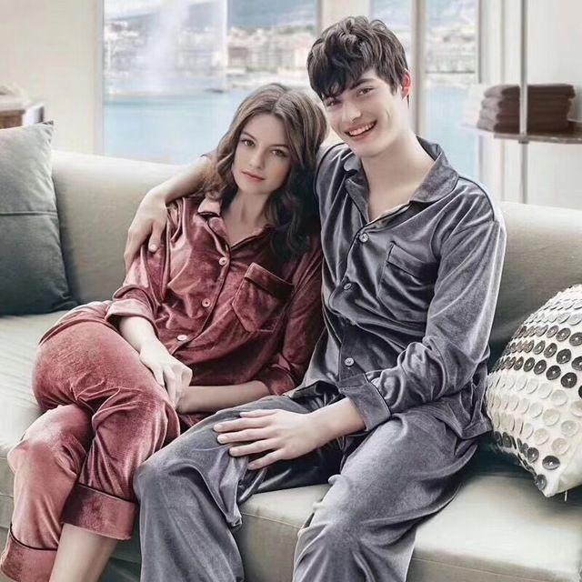 Woman Man Autumn Winter Pajamas Set Sleepwear Couple Pajamas Gold Velvet  Top And Pants Pajamas Long Sleeve Homewear  sleep  lounge  nightgowns   sleepshirts ... 1d78bd2b3