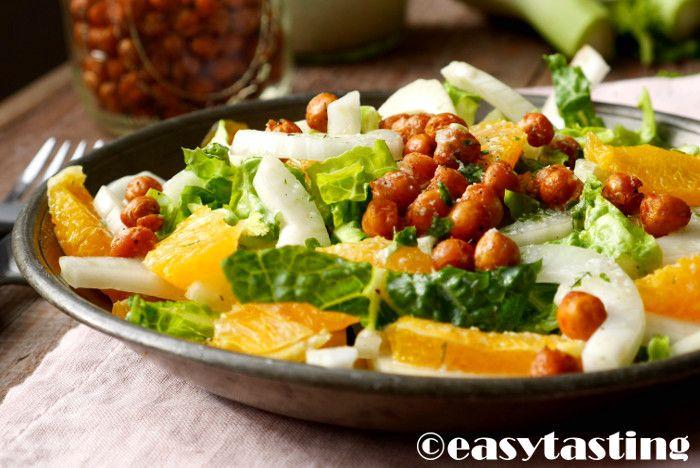 Fenchel Salat Rezept mit Orangen und gerösteten Kichererbsen
