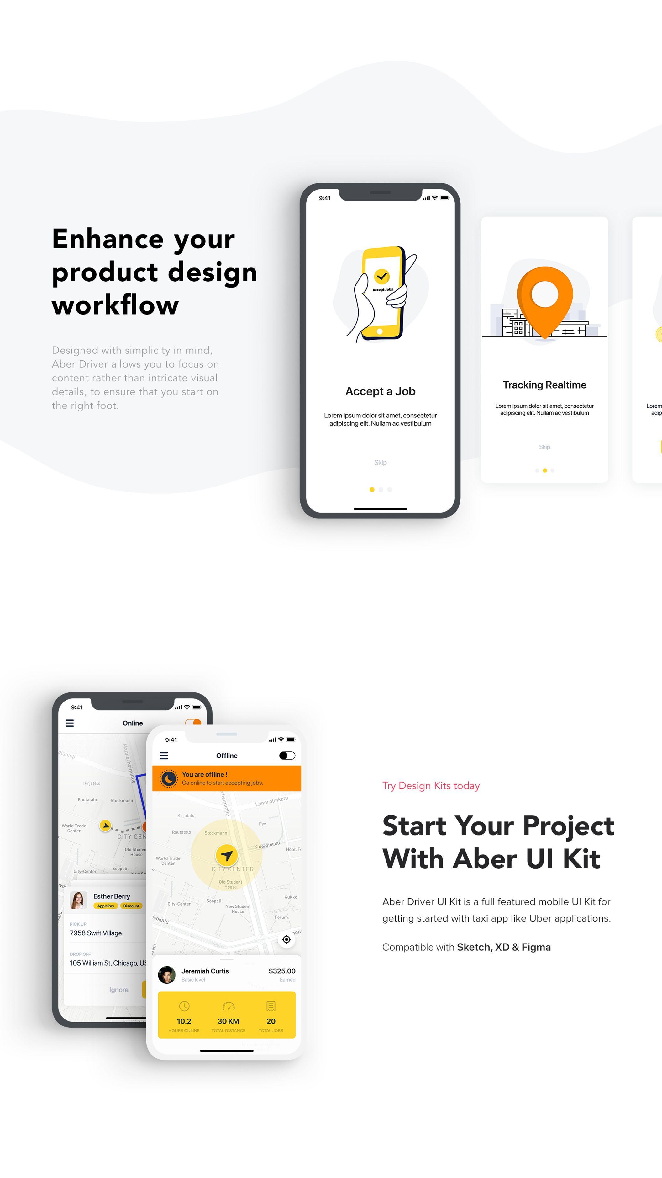 Aber Driver UI Kit — UI Kits on UI8 | UI Design | Ios design