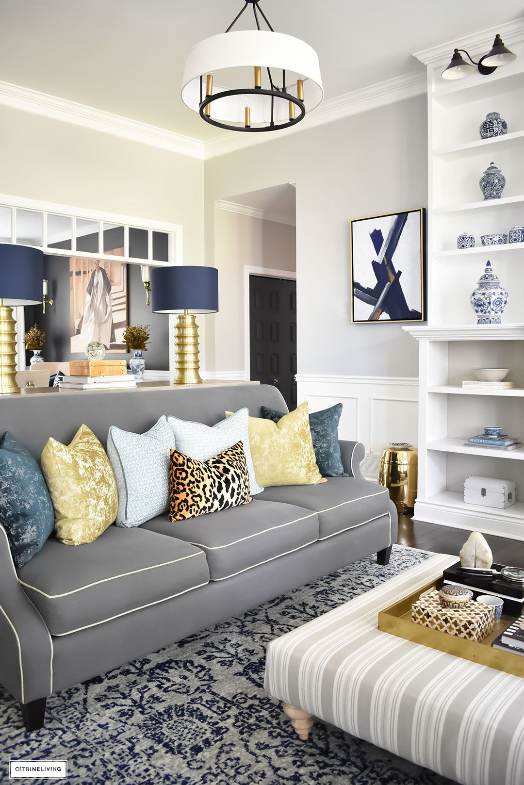 Fall Home Tour Using Rich Colors Brass And Gold Blue And Gold
