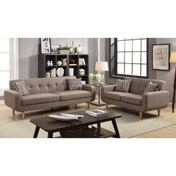 fabric 2 pieces sofa set with accent pillows light brown in 2019 rh pinterest com