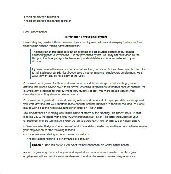 letter termination employment word template free download - employment termination agreement template