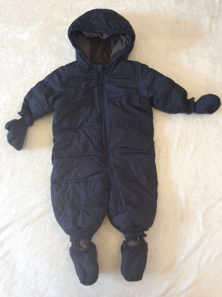63434ece03c5 Baby Gap 6-12 Months Snowsuit Navy Blue Boys Fleece Lined Warm ...