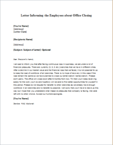 Letter Informing The Employees About Office Closing Download At