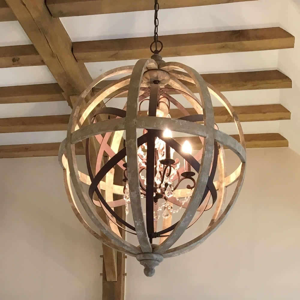 Large Round Wooden Orb Chandelier With Metal Orb Detail And Crystal Dr U2013  Cowshed Interiors