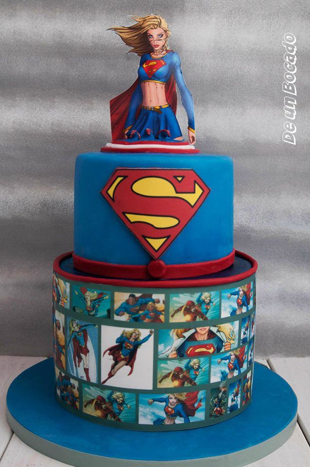 Awesome Supergirl Superwoman Cake Superhero Bolo Super Herois Bolo Funny Birthday Cards Online Elaedamsfinfo