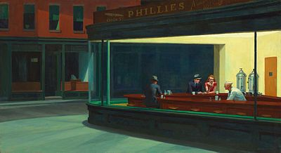 Edward Hopper: moody, beautiful night diner (Wikipedia, the free