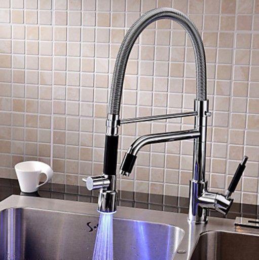 LED Colors Spout Kitchen Sink Faucet One Hole Mixer Tap Products - armatur küche ausziehbar