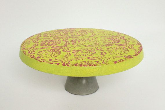 Hand-Painted Concrete Cake Stand by The Makerage in Tulsa, OK