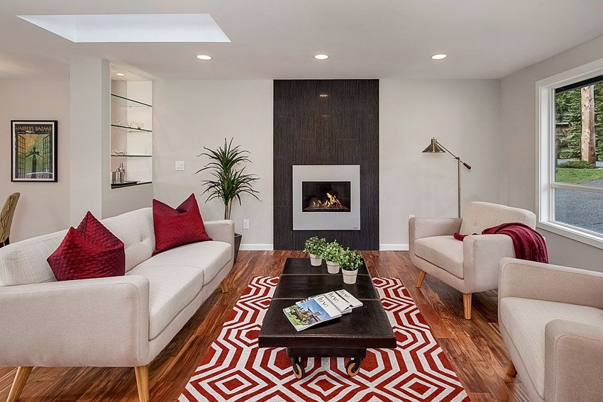 Room cozy contemporary living room with gas fireplace and wood floorsjpg