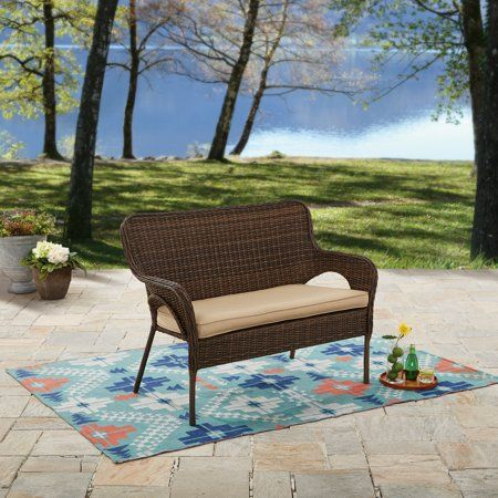 better homes and gardens camrose farmhouse wicker outdoor bench rh pinterest ca