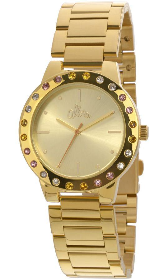 Relógio Allora Feminino Dourado Com Strass AL2035EYO4T   Relógios em ... 3f6760eee0