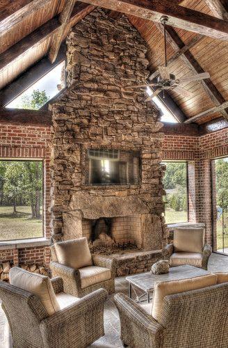 tv built into massive indoor outdoor fireplace design inspiration rh pinterest com