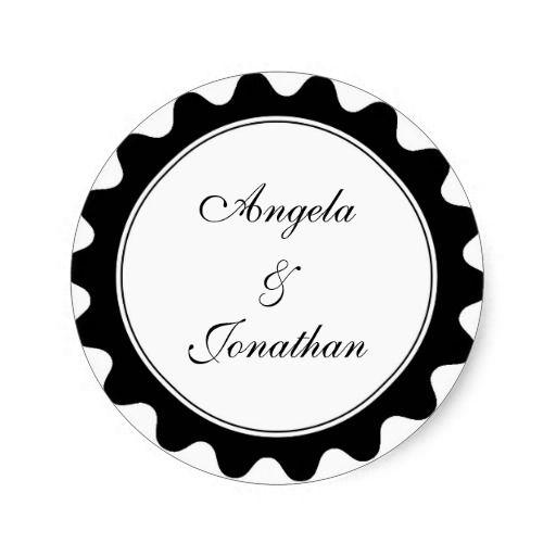 Round petal black wedding favor name tag label round stickers