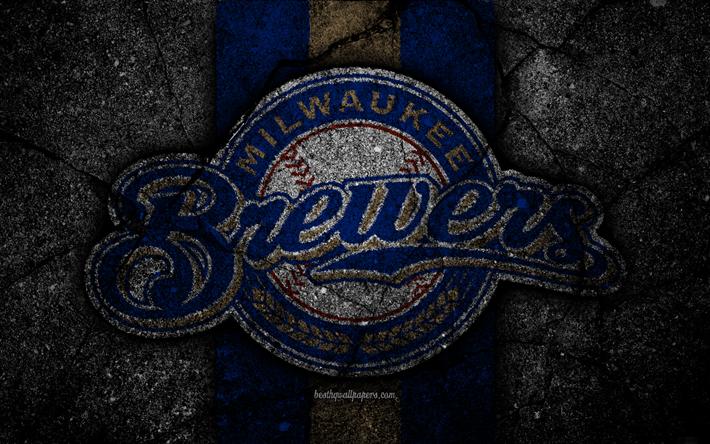 Download Wallpapers 4k Milwaukee Brewers Logo Mlb Baseball Usa Black Stone Major League Baseball Asphalt Texture Art Baseball Club Milwaukee Brewers Milwaukee Brewers Milwaukee Brewers Baseball Brewer Logo