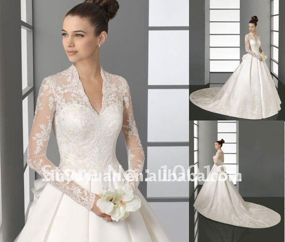 2012 Modern A Line Sweetheart Long Sleeve Lace Satin Princess Gown Wedding Dress Bridal