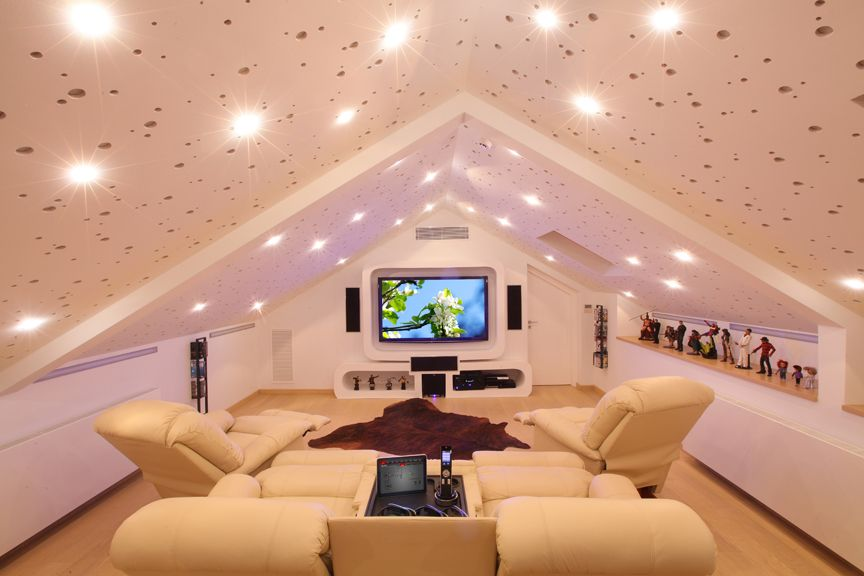 Great use of space in attic home cinema/media room | Media Room ...