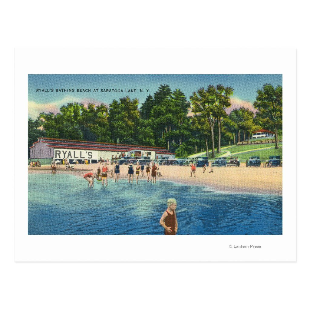 Saratoga Springs, New York - Ryall's Bathing Beach at Saratoga Lake View - Saratoga Springs, NY was created in 1943. This image depicts scenes from Saratoga Springs, NY.
