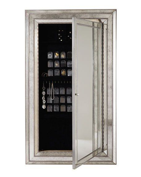 Glam Floor mirror in antiqued silver with a hidden compartment ...
