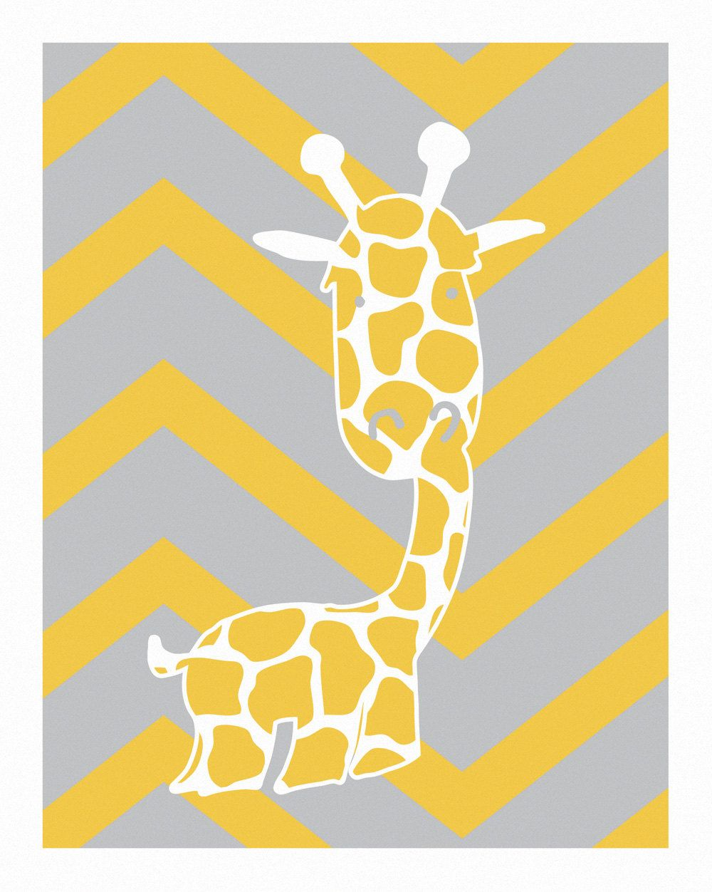 Baby Monogram - Giraffe Wall Art - ABC Nursery Yellow and Gray ...
