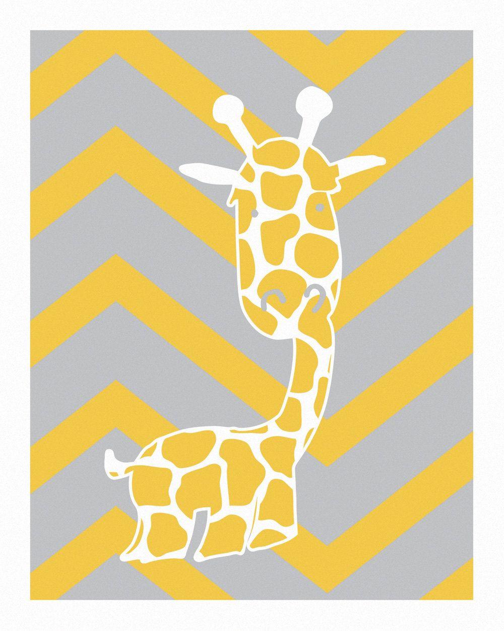 Baby monogram giraffe wall art abc nursery yellow and gray