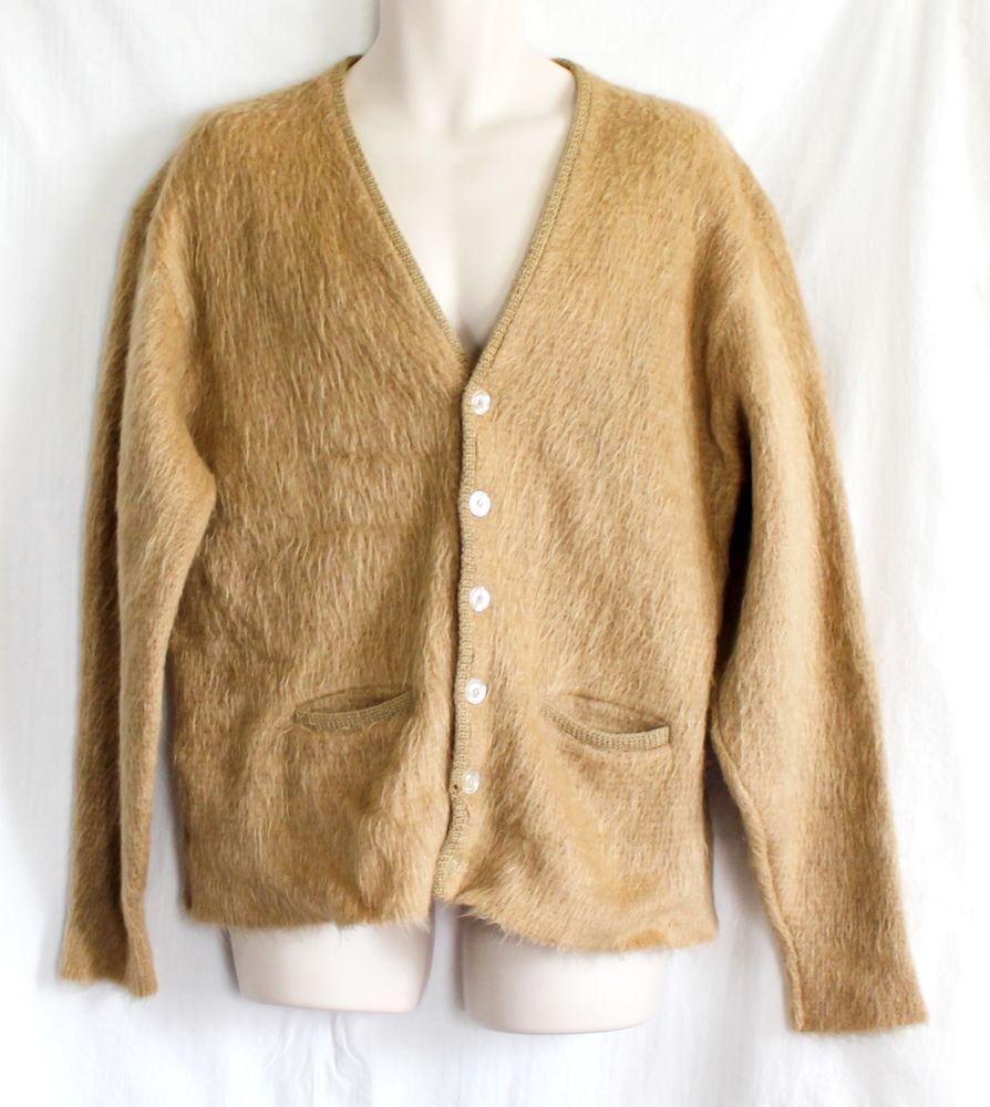 Mens VTG Mohair Blend Sweater Size XL Cardigan CAMPUS USA Brown ...