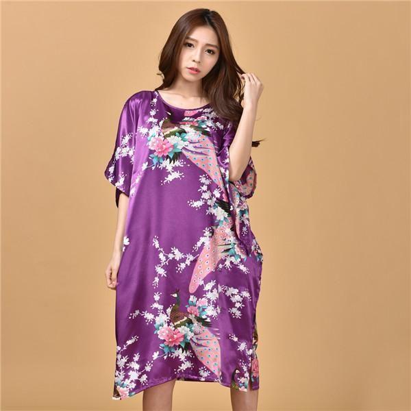 40b0a0a624892 Novelty Print Satin Robe Dress - Novelty Women's Bath Gown ...