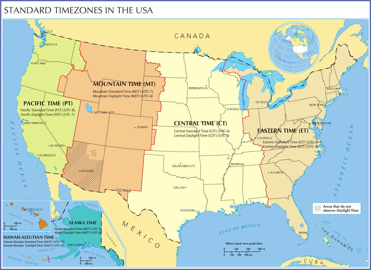 BTimeb BZoneb Map Of The BUnited Useful Information - Central america time zone