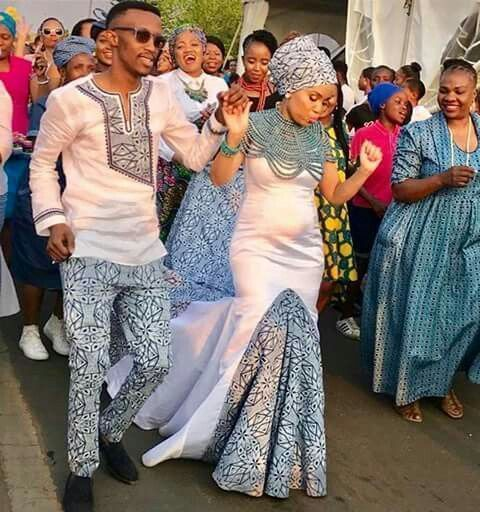 The Shweshwe Fashion The Latest Trends From South Africa Reny Styles African Traditional Dresses Traditional Wedding Attire African Print Wedding Dress