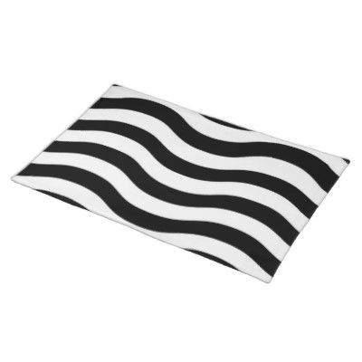 A Place Mat To Match The Plate Placemats Black And White White Stripe