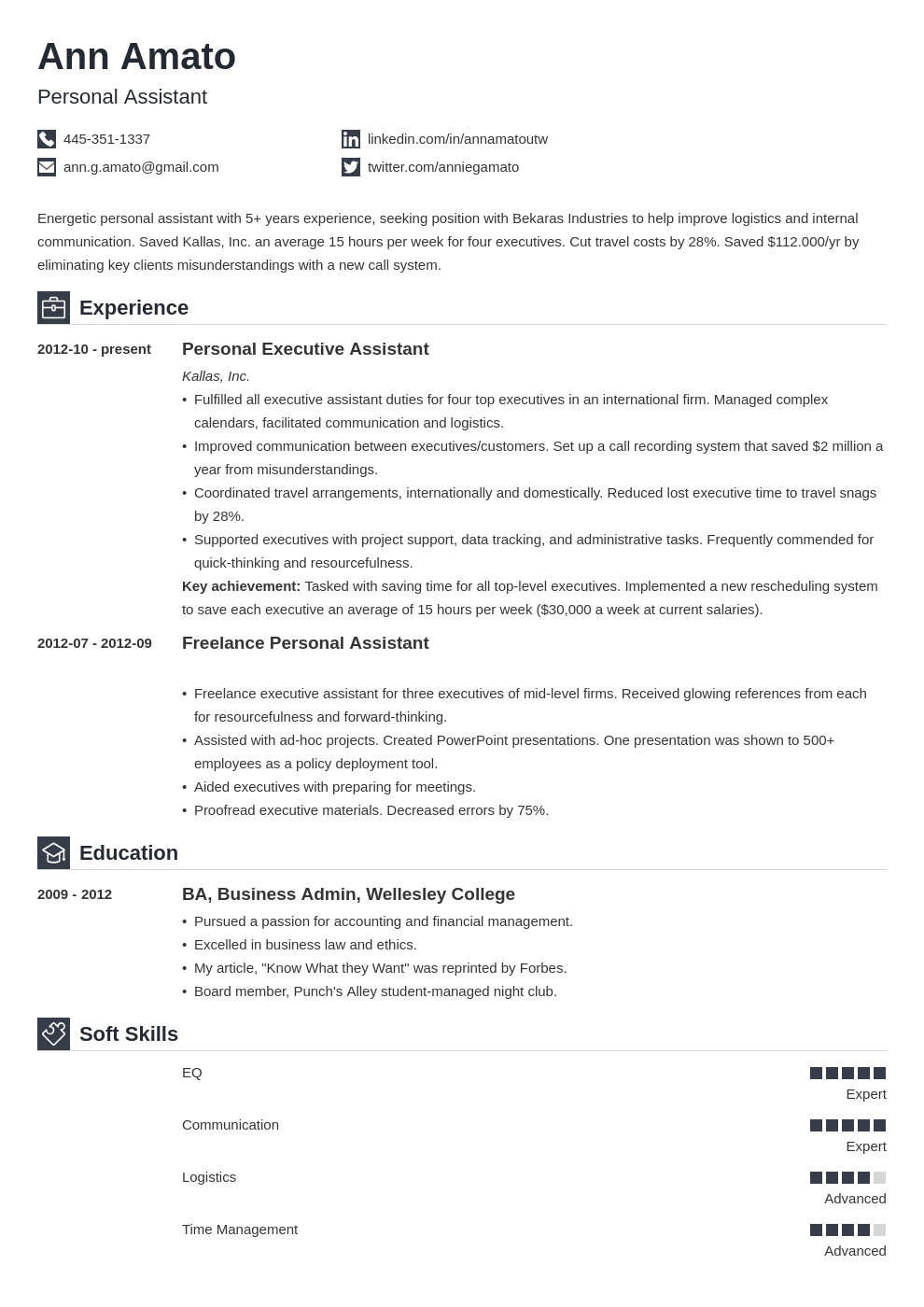 personal assistant resume example template iconic in 2020