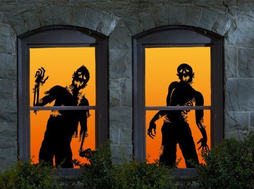 WOWindow Posters Ghoulies Silhouettes Halloween Window Decoration - halloween window decorations
