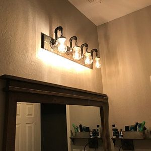Photo of RUSTIC DISTRESSED bathroom set, mason jar light, rustic vanity light, bathroom vanity light, rustic toilet paper, industrial lighting